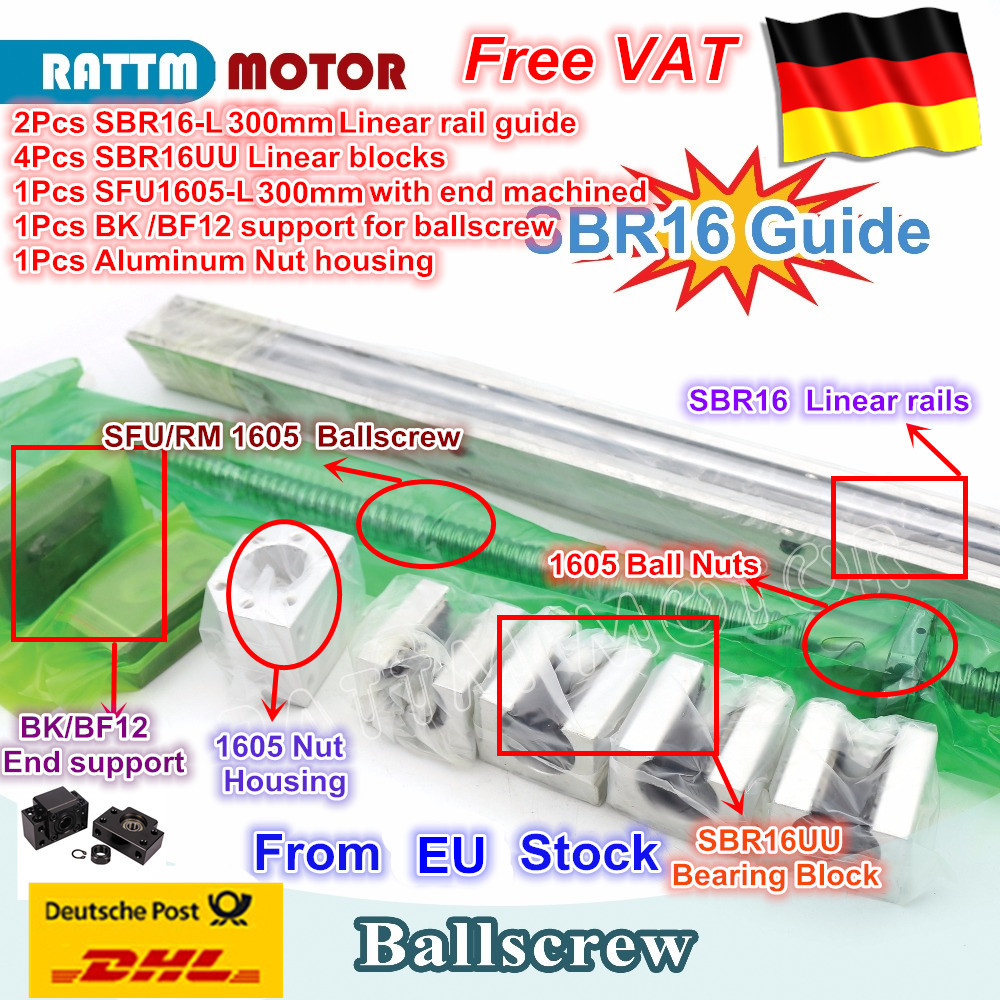 цена на DE SHIP / free VAT ballscrew SFU1605 -L300mm Ball screw & 2Pcs linear guide SBR16-L300mm + 4PC SBR16UU & BK/BF12 from RATTMMOTOR