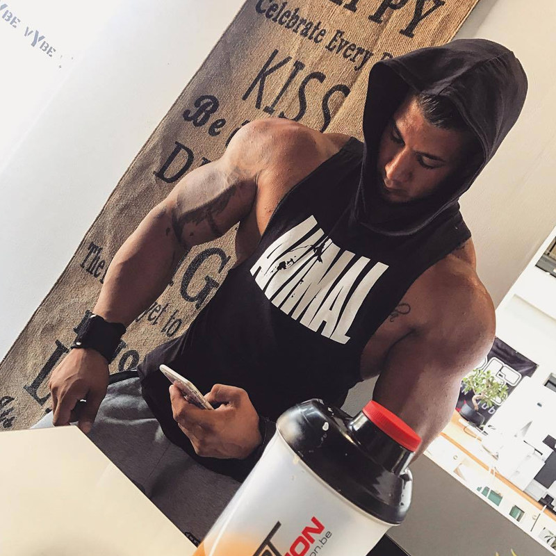 Men Bodybuilding Cotton Tank top Gyms Fitness Hooded Vest Sleeveless Shirt Summer Casual Fashion Workout Brand Clothing 23