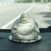 Ceramic Buddha Car Decoration Creative Personality Maitreya Buddha Car Central Control Trolley Interior Decoration