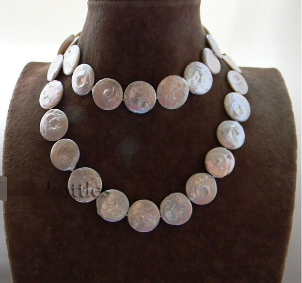 Free shipping@@@@@ A>big Nature 32'' 20MM White Coin Freshwater Pearl Necklace a