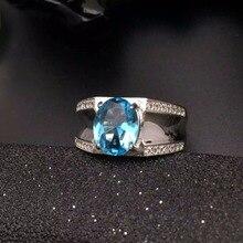 Moda topacio azul anillo para hombre esterlina del sólido 925 de plata del hombre anillo 100 natural 8*10mm topacio hombre clásica joyería de plata para hombre