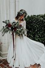 2018 Two Pieces Beach Boho beach Ruffle Lace Top Summer Wedding Gown Custom Bohemian Bridal gowns