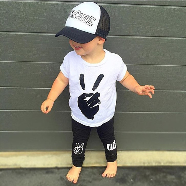 068e5ef90ddd5 US $6.52 30% OFF|2018 New style summer baby boy clothing sets cotton short  sleeve t shirt+pants baby girl clothes newborn 2pcs sport suit-in Clothing  ...