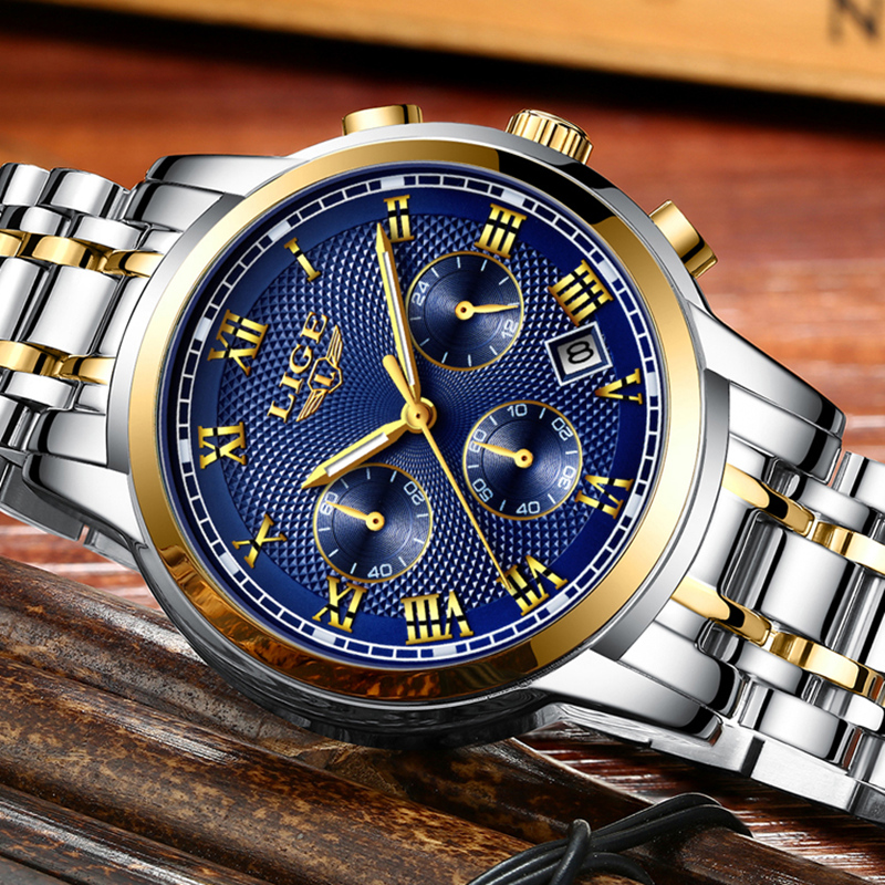 Herenhorloge Top luxe merk LIGE Heren waterdichte quartz horloges - Herenhorloges - Foto 4