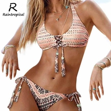 2017 Sexy Bikinis Women Swimsuit Push Up Swimwear bandage Handmade Crochet Brazilian Bikini Set Beach Bathing