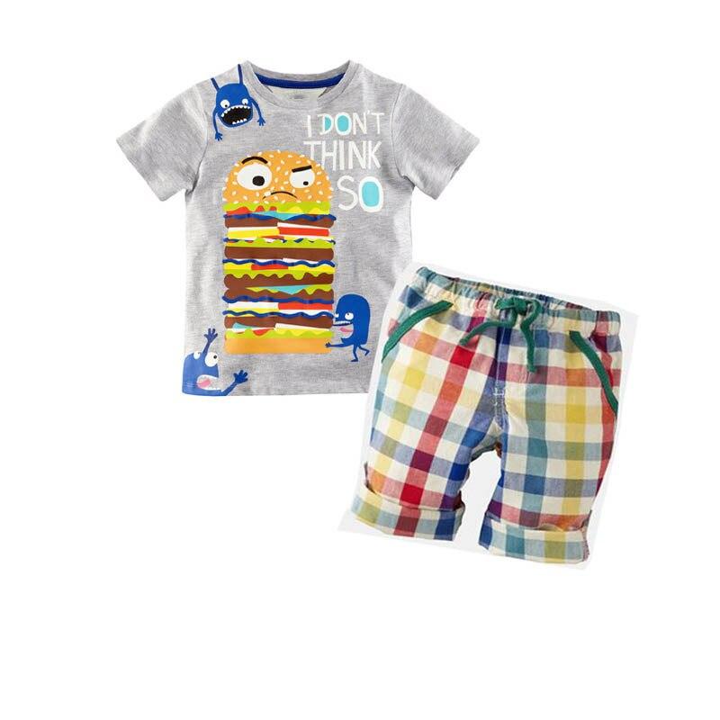 2016 Summer Boys Clothes New Baby Boy Clothing Set Pattern Burger Bot Toddler Boys T-Shirts + Plaid Shorts Pants Kids Clothes