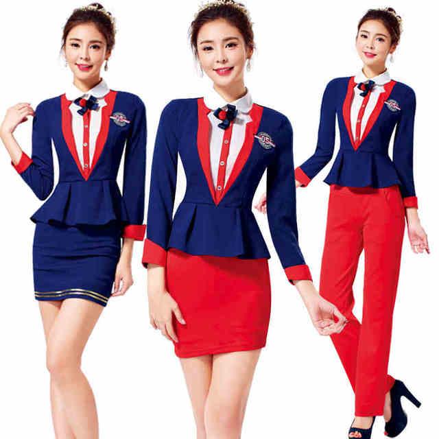 Frete grátis elegante Formal de trabalho para mulheres de Slim escritório senhora saia ternos azul uniformes de trabalho veste Plus Size XXXL