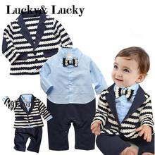 gentleman baby boy clothes striped coat+ blue shirt rompes with bow clothing set newborn wedding suit