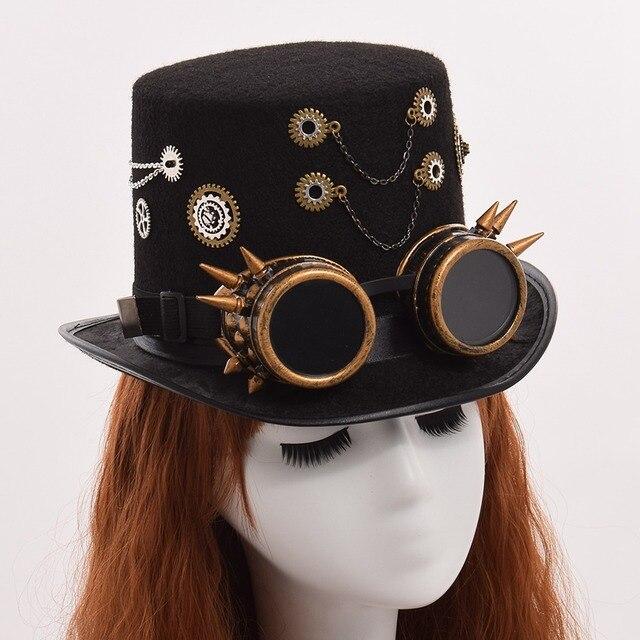 Шляпа в стиле стимпанк с очками в ассортименте вариант 5 1