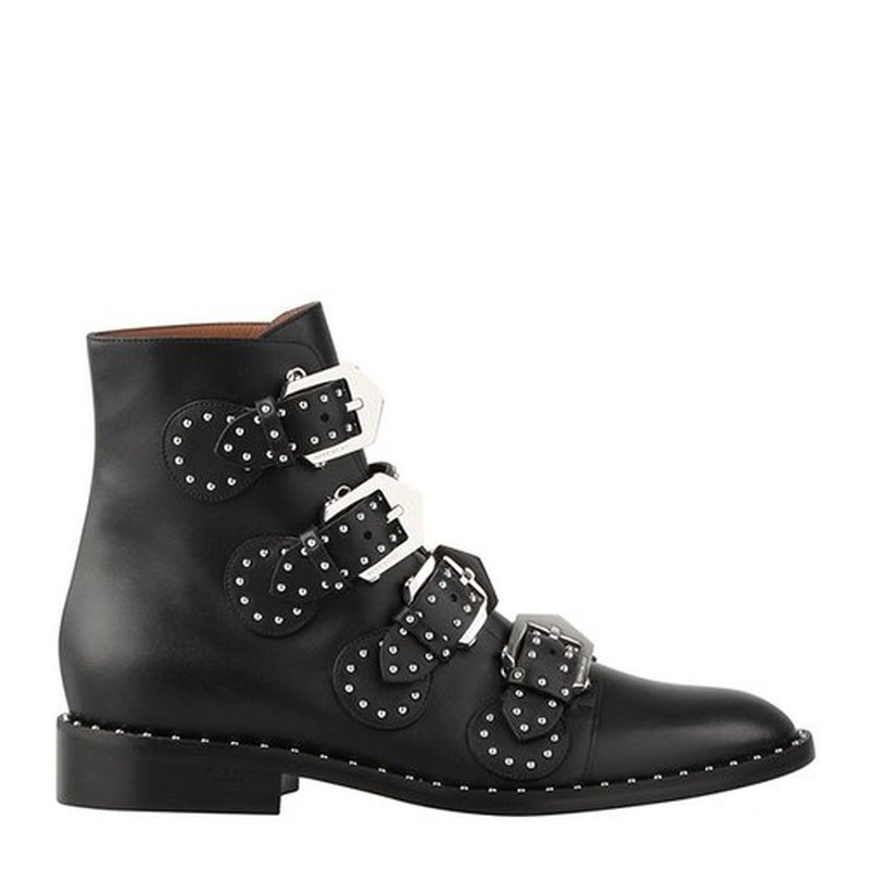 Genuine Leather Black Cowhide Ankle Boots Womens Shoes Rivet Metal Buckle Combat Boots for Women Luxury Shoes Women Designers aercourm a 2017 ankle boots women genuine leather shoes cowhide high heel shoes metal buckle brand shoes women zippe boots z958