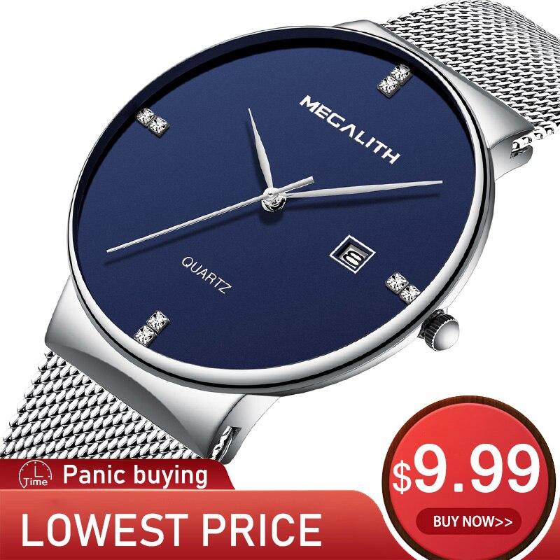 MEGALITH Men Watch 9.99$ Sport Waterproof Luminous Quartz Watch Steel Mesh Strap Wrist Watches Men Clock Wholesale Price 0047