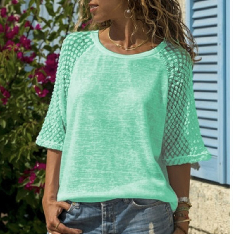 Casual O neck Loose Tops Women Lace Patchwork T Shirts Summer Plus Size T shirts Tees in T Shirts from Women 39 s Clothing