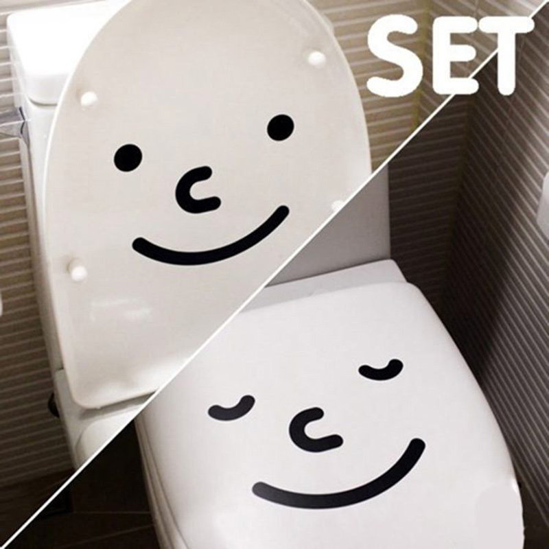 A set of two big Smiley toilet stickers wall decorations vinyl adesivos de paredes home decor decals mual art waterproof posters