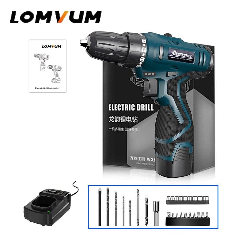 LOMVUM 16 8V Double Speed Cordless Screwdriver 2 Battery Electric Mini Drill LED Light Power indicator