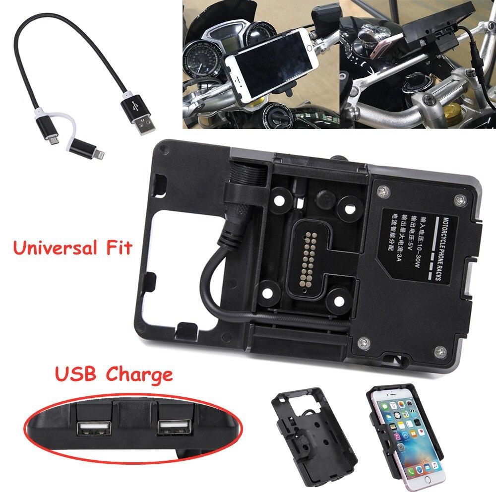 For BMW R1200GS ADV F700 800GS Honda CRF1000L S1000XR R1200RS Motorcycle USB Charging Mobile Phone Navigation Bracket Mount 12MM