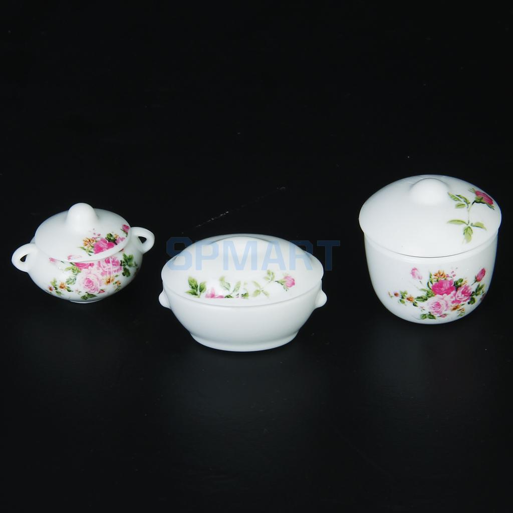 3pcs-Doll-House-Kitchen-Miniature-Casserole-Pot-Bowl-Lid-with-Floral-Pattern-5
