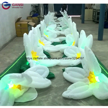 High quality 10m long inflatable flower chain decoration,giant inflatable led flower for party event giant inflatable flower with glasses for outdoor park decorations