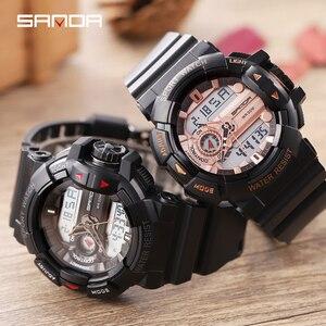 Image 5 - 2019 Sanda yeni S şok erkekler spor saatler büyük arama dijital saat erkekler lüks marka askeri su geçirmez erkek kol saatleri