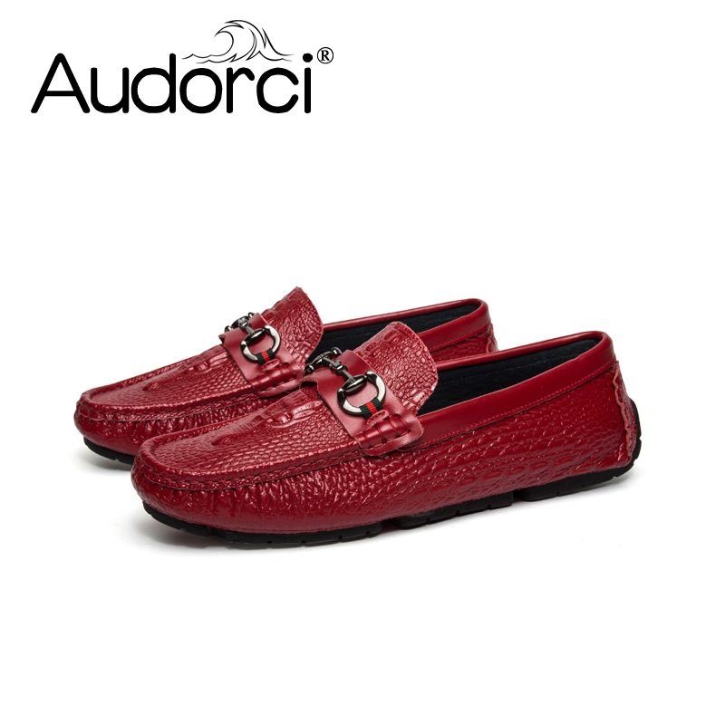 Audorci 2018 Spring Fashion Patent Leather Driving Loafers Shoes Men's Light Flats Shoes Man Casual Boat Peas Shoe Size 38-44 brand fashion men shoes quality leather loafers eu size 38 44 soft rubber sole man casual driving shoes