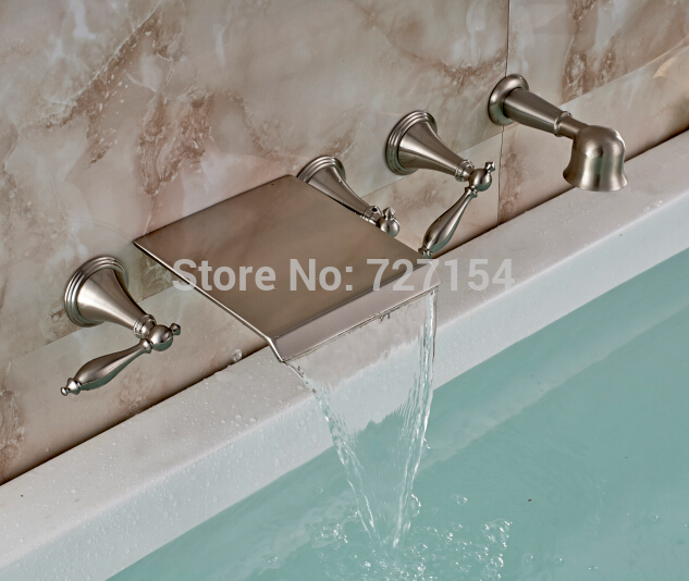 Free Shipping New Wall Mounted Bathroom Waterfall Tub Faucet Hand