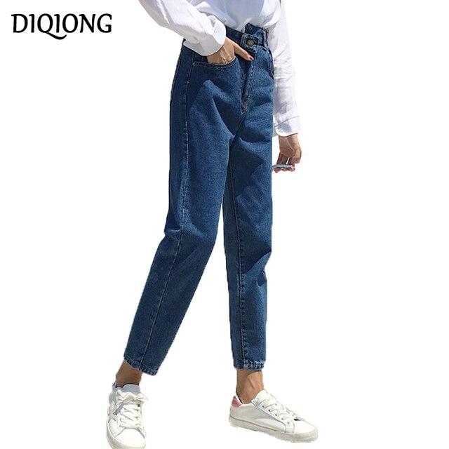 2499fb3127d6b Diqiong Women Vintage Summer Boyfriend Jeans High Waist Washed Button Blue  Denim Harem Pants Jeans Plus Size Femme 2018 Fashion