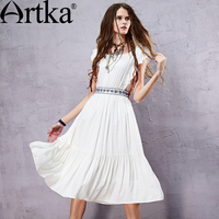 Artka Women S Summer New Boho Style Embroidery White Cotton Dress O Neck Sleeveless Empire Waist