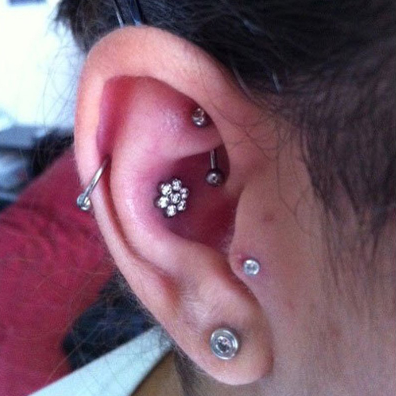 Cartilage Earring 9ct Gold Upper Ear Helix Red Gemstone Lips