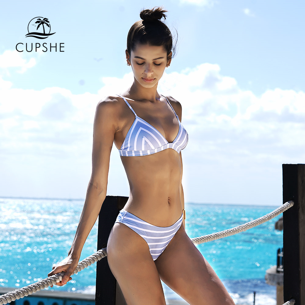 CUPSHE Slim Sea Of Me Stripe Thong Bikini Set Women Summer Sexy Two Pieces Swimsuit 2020 Ladies Beach Bathing Suit swimwear 2