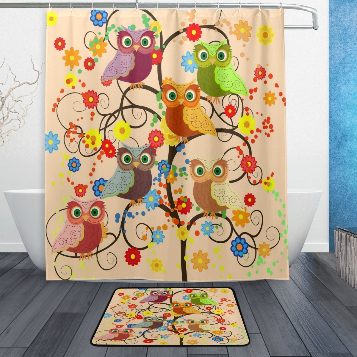 Cute Animal Owl Shower Curtain And Mat Set Cartoon Owl