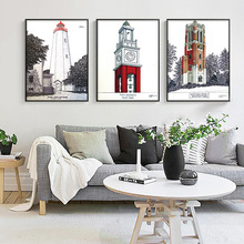European Style Buildings Lighthouse Mosaic Full Diamond Painting Picture Landscape Rhinestones Round Handwork Diamond Paintings