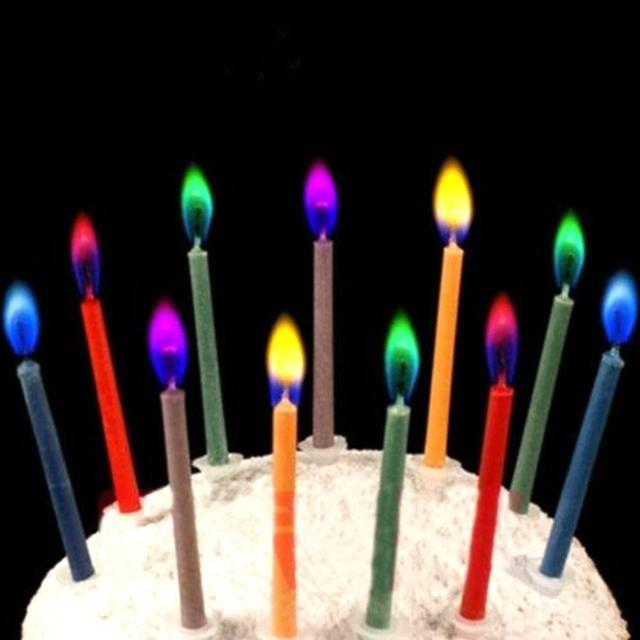 6X Colored Candles Safe Flames Party Birthday Cake Decorations With Small Candle Holder