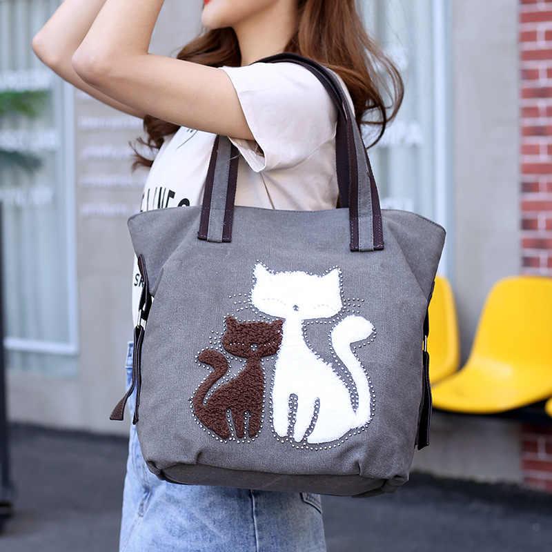 71e60a8463f3 ... Новая Милая Холщовая Сумка-тоут с кошкой, повседневная сумка-шоппер,  сумки на ...