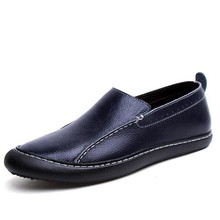 Fashion Genuine Leather men's shoes Loafers Slip-On Lazy casual shoes Dark blue Comfor soft bottom Driving shoes huarche