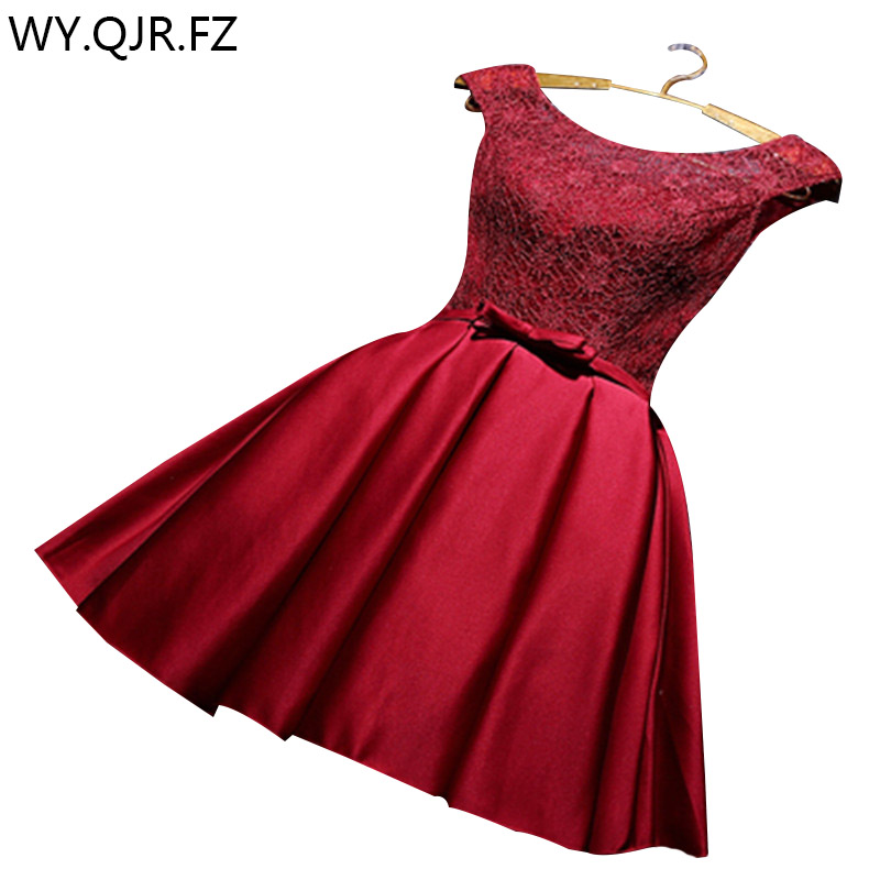 US $25.92 10% OFF|YRPX JH#Lace up wine red bridesmaid dresses plus size  2019 summer short wedding party prom gown wholesale cheap fashion dress-in  ...