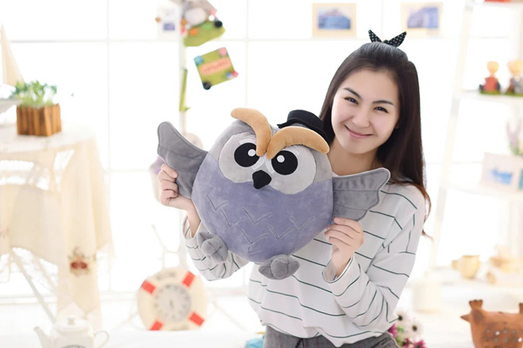 middle size gray plush owl toy new stuffed owl hand warmer doll gift about 38cm new arrival tamino maita scratch cat plush toy stuffed cool unhappy kitty black white gray color 40cm 50cm freeshipping gift