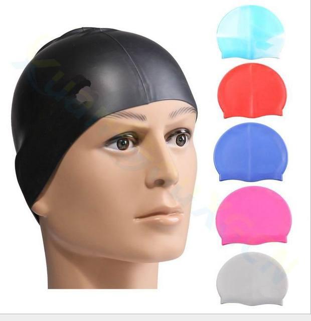 7bb95dbc53b 10pcs Unisex Flexible Waterproof Silicone Swimming Cap Adult Swimming Head  Cover Protect Ear Swim Caps Pool Bath Cap