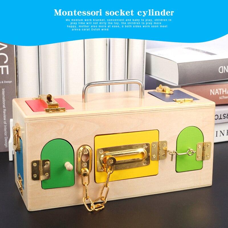 Montessori boîte de verrouillage en bois éducation de la petite enfance éducation préscolaire bébé débloquer boîte maternelle outils d'enseignement intelligents - 5