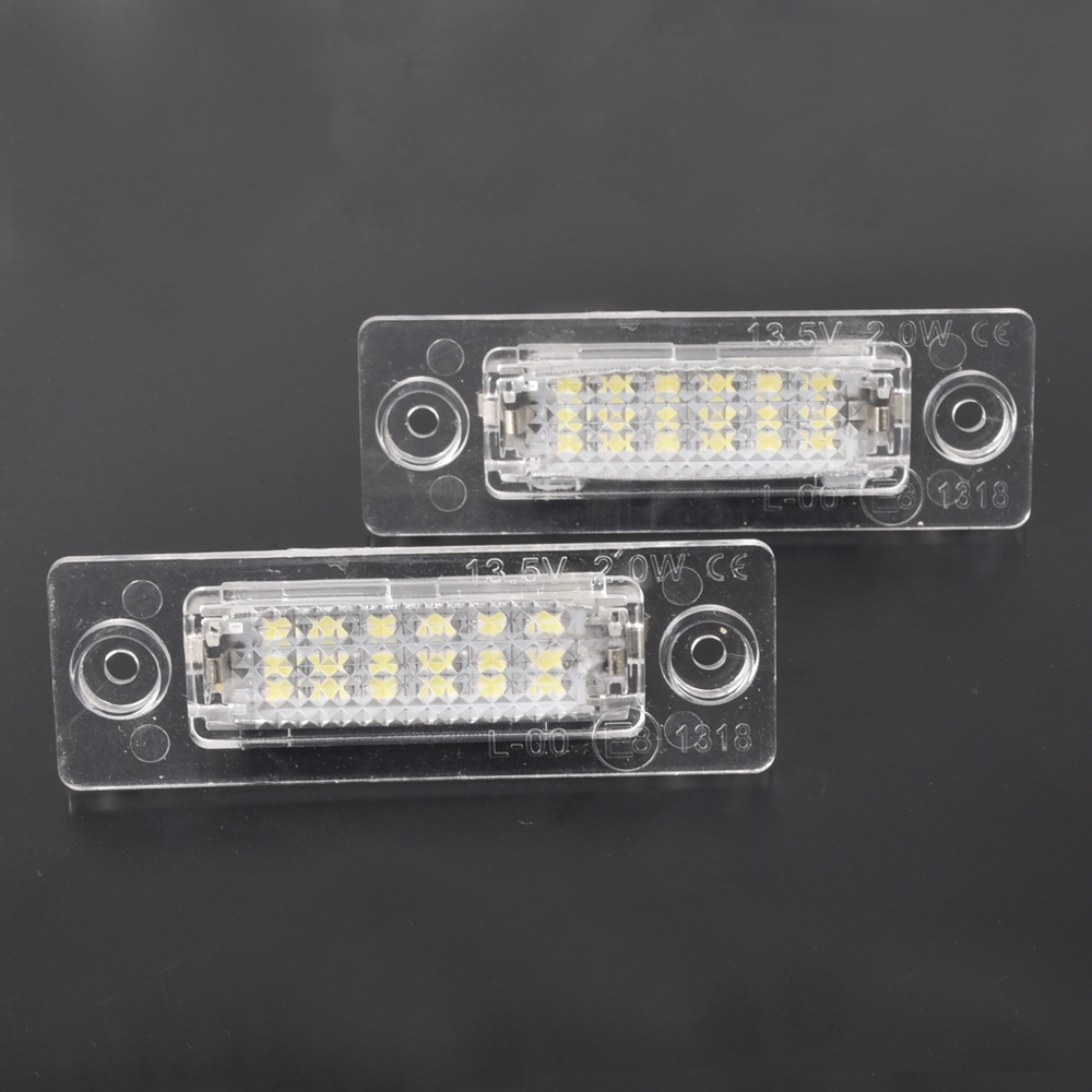 2pcs Car LED License Number Plate Lights Lamp For VW Transporter T5 Multivan Caravelle Eurovan Passat Caddy Touran Golf