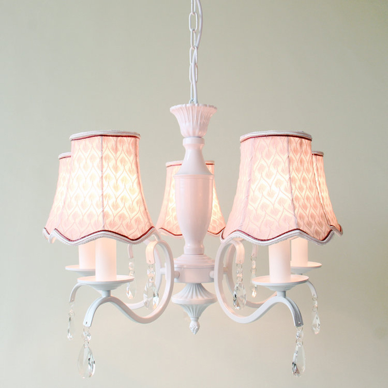 Modern Pink Fabric Lampshade Chandelier Lighting E14 European Crystal Dining Room Girl's Bedroom Pendant Lamp Fixture New PL621 european crystal chandelier lights pendant lamp for dining room bedroom cloakroom stairs