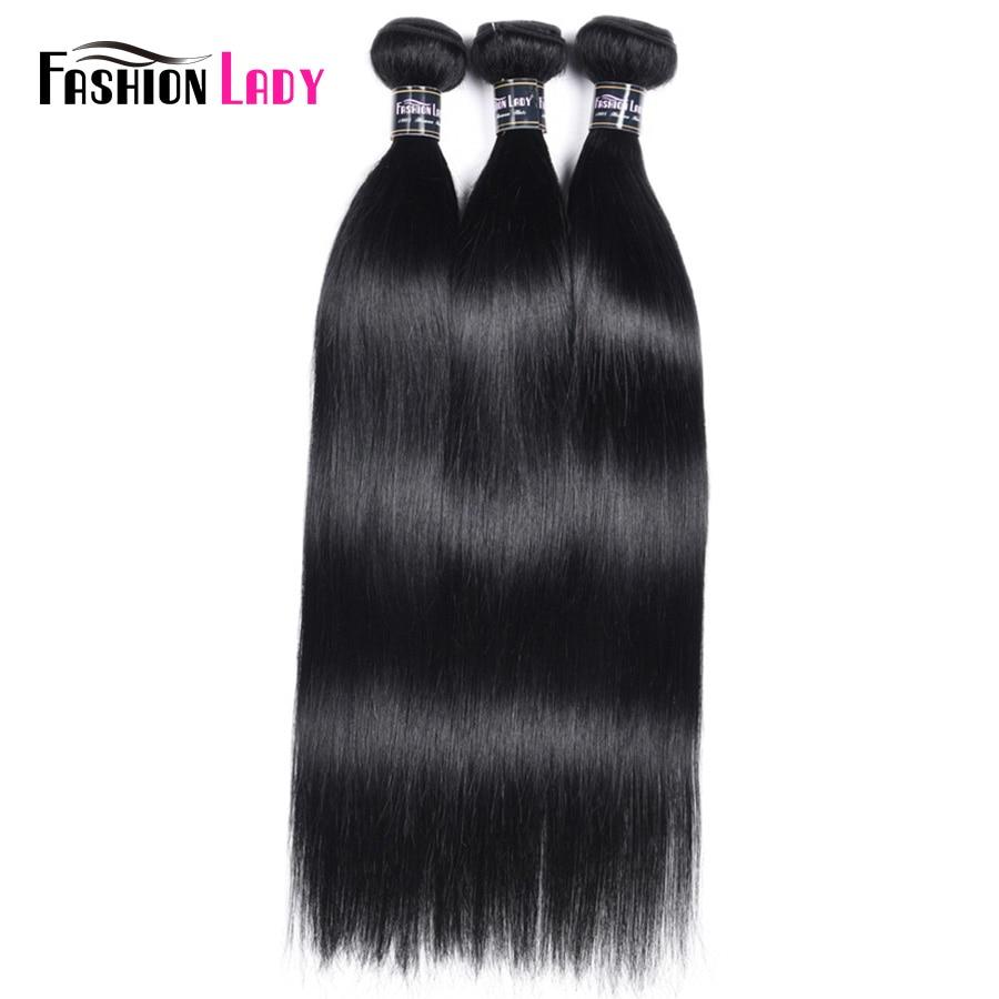FASHION LADY Pre-Colored Peruvian Straight Hair Weaving 3 Bundles Jet Black Human Hair Bundles 1# Non-Remy Hair