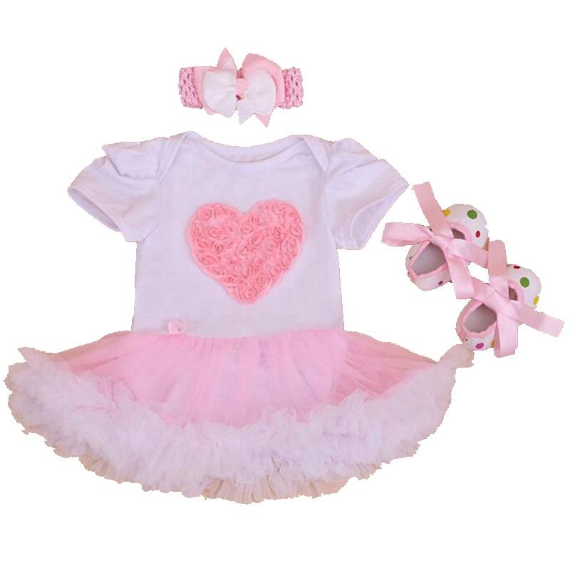 Pink Love Applique Newborn Baby Girl Summer Clothes Lace Ruffle Romper Dress Crib Shoes Headband 3PCS Girls Birthday Tutu Sets