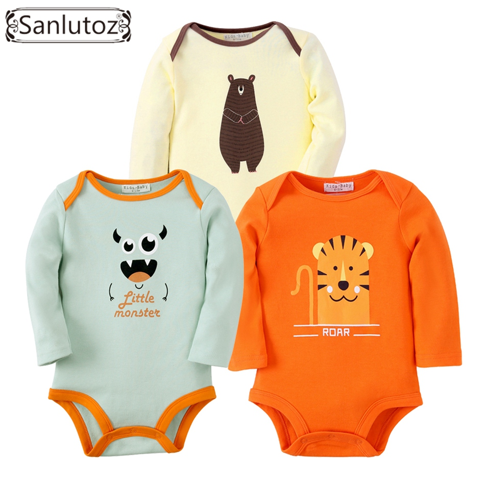 Sanlutoz Baby Bodysuits Boys Girls Baby Clothing Set Infant Jumpsuits Newborn Baby Clothes Cotton Cartoon Overall Wear 3pcs lot