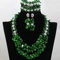 Fashion Nigerian Green African Coral Beads Jewelry Set Chunky Bib Statement Necklace Set Silver Zircon Free Shipping CNR506