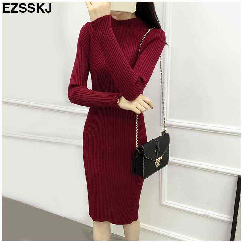 Knitted Winter Dress Women Office Sexy Black Red Blue Green Turtleneck Midi Bodycon Sweater Dress Thick Warm Dresses Robe Femme