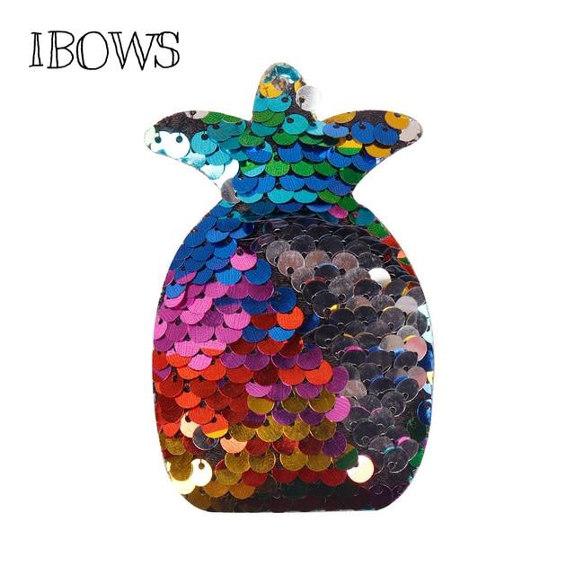 Iwows brillo lentejuelas apliques piña parches acolchados para los Clips de pelo de la niña DIY/banda/tocado/arco los injertos de accesorios