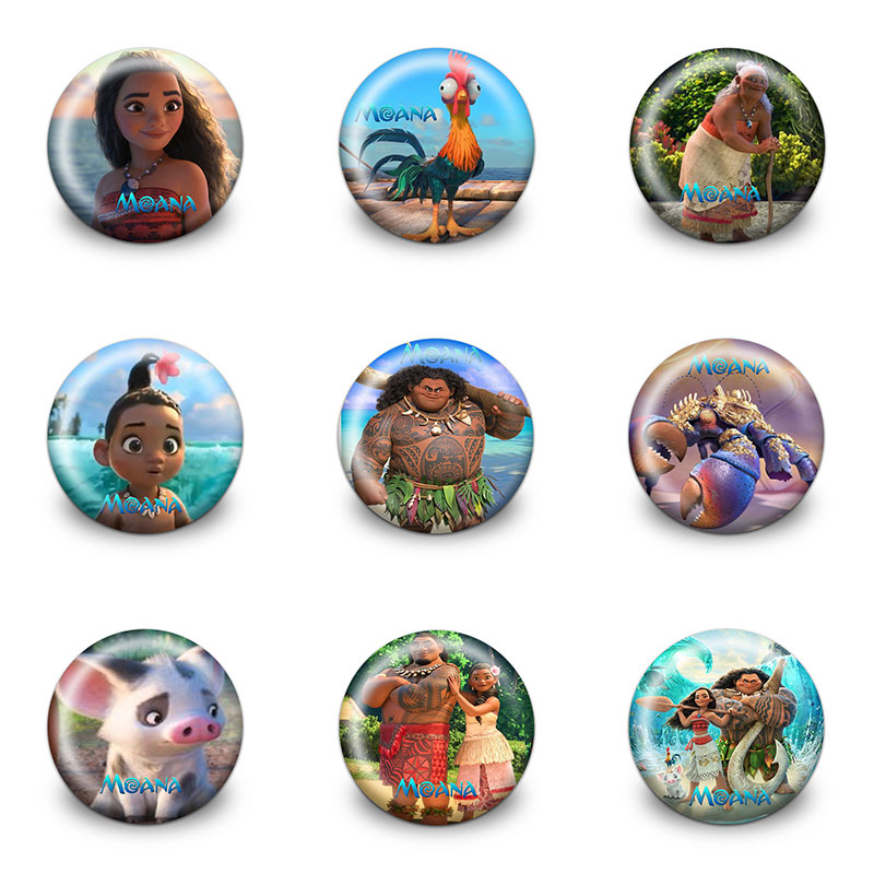 Labels, Indexes & Stamps 9pcs/set Moana Cartoon Button Badges Round Pin Badge 30mm Diameter Clothes/bag Accessories Diy Badge Craft Kid Party Gifts