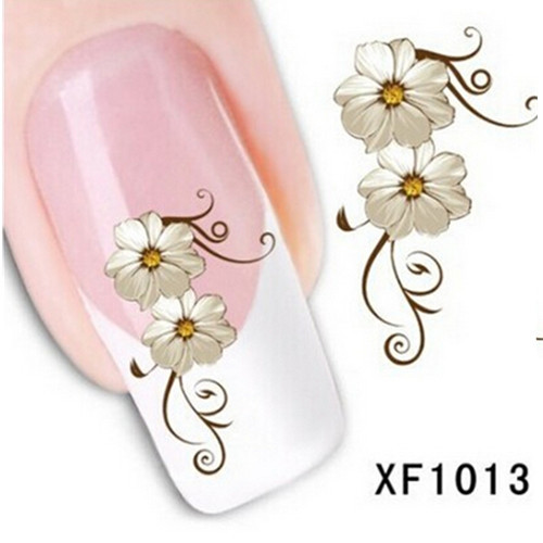 1 sheet Fashion Water Transfer Flower Design Nail Decals Tattoo Sticker Manicure Foil Wrap DIY Stylish Decoration Tool SAXF1013 1 sheet beautiful nail water transfer stickers flower art decal decoration manicure tip design diy nail art accessories xf1408