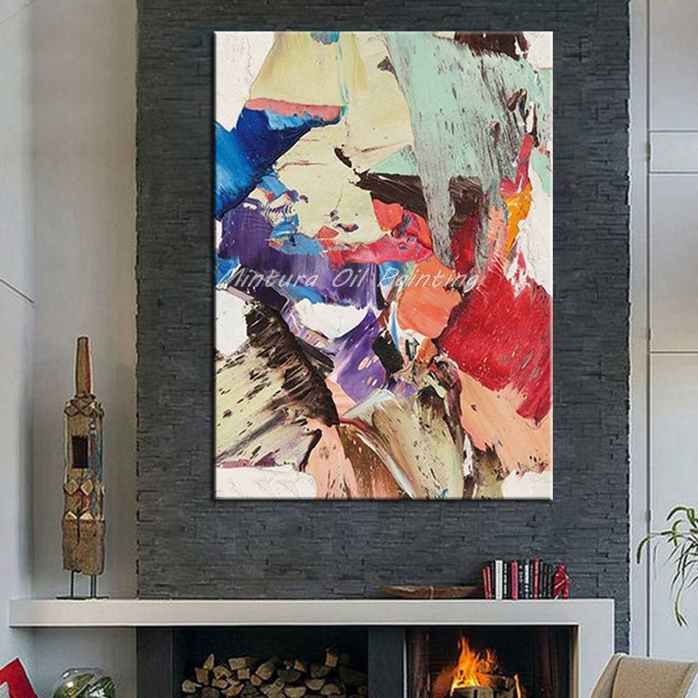 Mintura Art Hand Painted Abstract Oil Painting On Canvas Pop Art Modern Wall Art Pictures For Living Room Home Decor No Framed