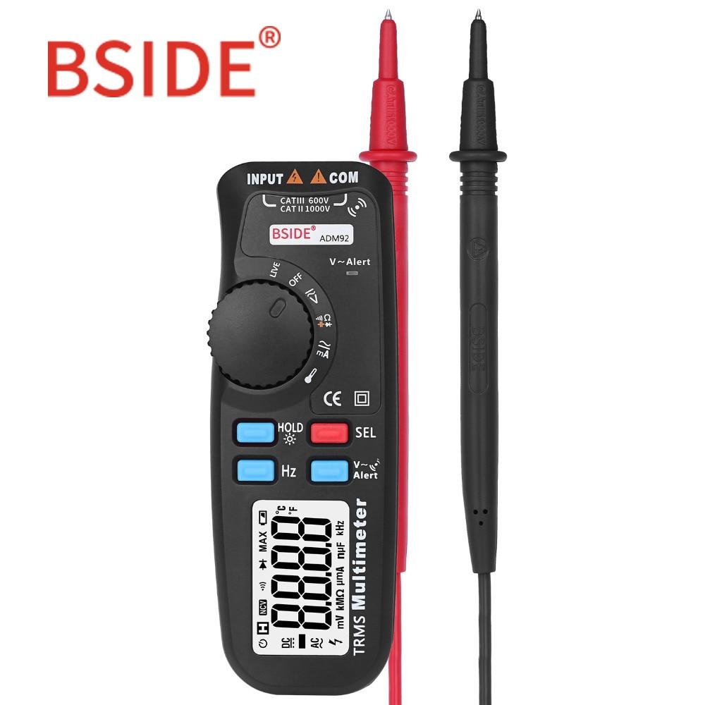 BSIDE ADM92 Handheld True RMS Digital-Multimeter Auto Range 6000 Zählt TRMS Tester mit Live Draht Überprüfen Temp NCV Hz ohm Diode
