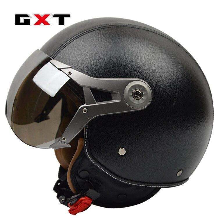 GXT genuine leather vintage retro 3 4 t vintage scooter Chopper motorcycle helmet capacete cascosopen face